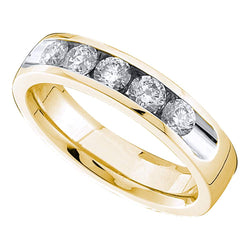 14kt Yellow Gold Womens Round Channel-set Diamond Single Row Wedding Band 3/4