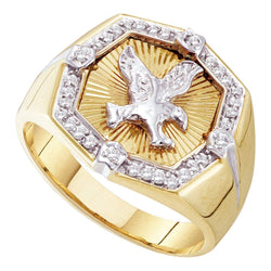 10kt Yellow Gold Mens Round Diamond Eagle Cluster Ring 1/4 Cttw