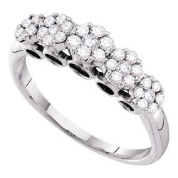 14kt White Gold Womens Round Diamond Multi Cluster Ring 1/2 Cttw