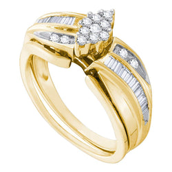 10k Yellow Gold Round Diamond Cluster Womens Wedding Bridal Ring Set 3/8 Cttw