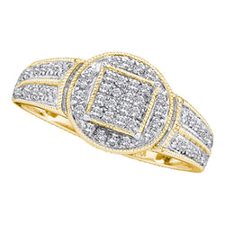 10kt Yellow Gold Womens Round Diamond Circle Frame Cluster Ring 1/5 Cttw