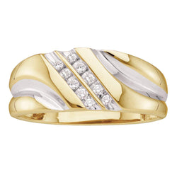 14kt Yellow Gold Mens Round Diamond Band Wedding Anniversary Ring 1/8 Cttw