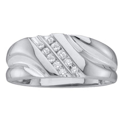14k White Gold Round Diamond Mens Lightweight 2-row Channel-set Wedding Band 1/8 Cttw