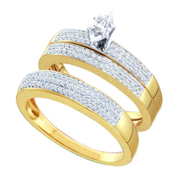 10kt Yellow Gold His & Hers Marquise Diamond Solitaire Matching Bridal Wedding Ring Band Set 1/2 Cttw