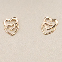 14K Yellow Gold Polished Double Heart Post Earrings