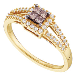 14kt Yellow Gold Womens Princess Cognac-brown Colored Diamond Split-shank Cluster Ring 1/3 Cttw