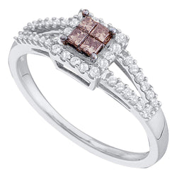 14kt White Gold Womens Princess Cognac-brown Colored Diamond Split-shank Cluster Ring 1/3 Cttw