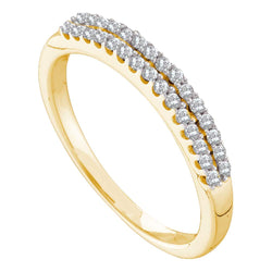 14k Yellow Gold Womens Round Diamond 2-row Wedding Anniversary Bridal Band 1/5 Cttw