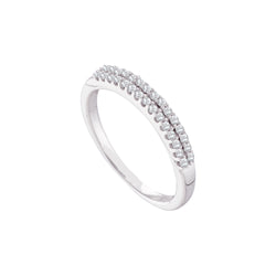 14k White Gold Womens Round Diamond 2-row Wedding Anniversary Bridal Band 1/5 Cttw