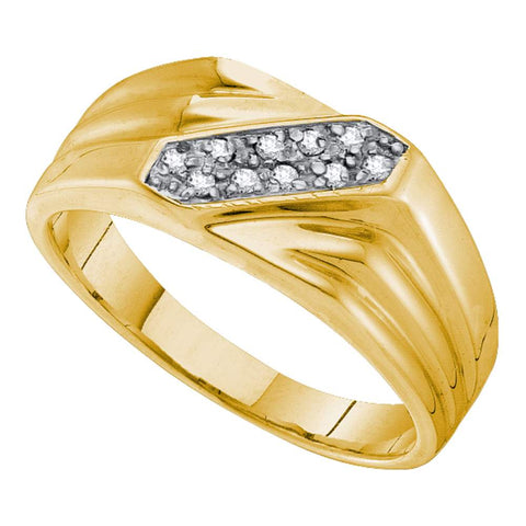 Yellow-tone Sterling Silver Mens Round Prong-set Diamond Double Row Ring 1/10 Cttw