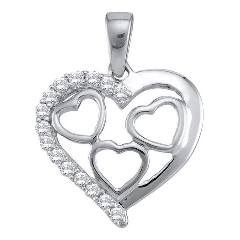 10k White Gold Womens Round Diamond Heart Love Pendant 1/5 Cttw