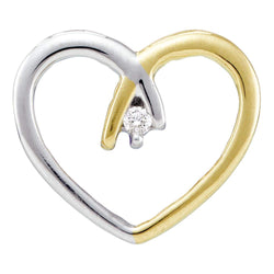 10kt Two-tone Yellow Gold Womens Round Diamond Solitaire Heart Love Pendant .03 Cttw