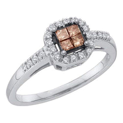 10kt White Gold Womens Princess Cognac-brown Colored Diamond Square Cluster Ring 1/4 Cttw
