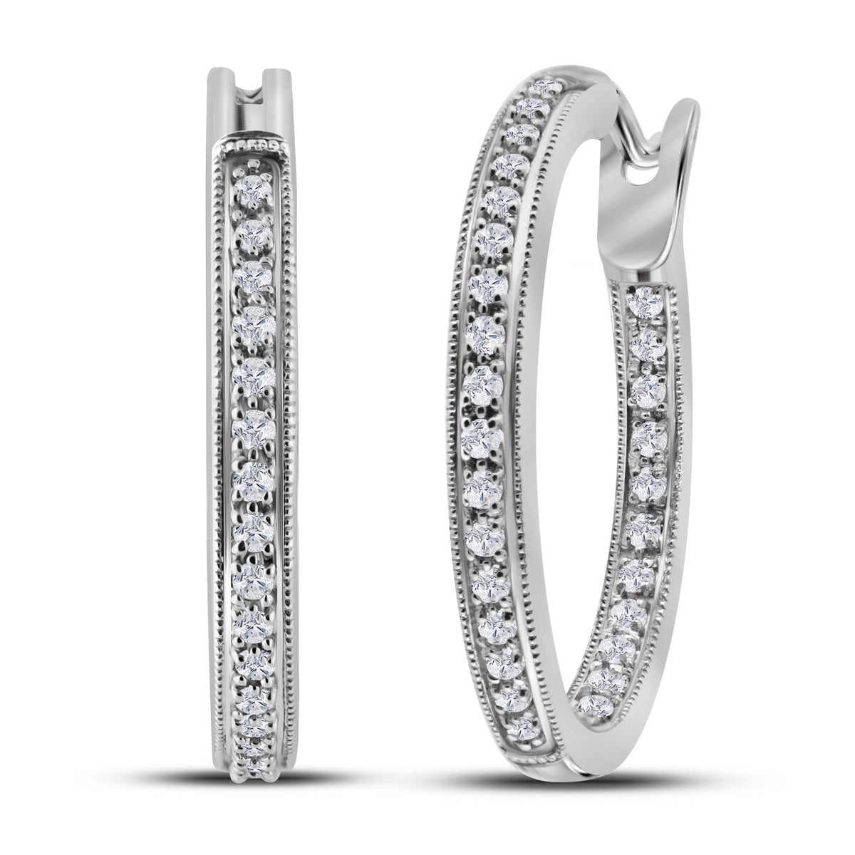Ladies 14K White Gold 3D 1 Row Real Diamond Inside Out Hoop Earrings 1/2 CT
