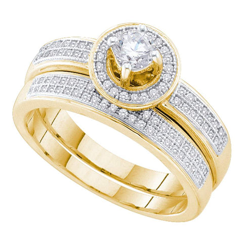 10k Yellow Gold Womens Round Diamond Halo Bridal Wedding Engagement Ring Band Set 1/2 Cttw