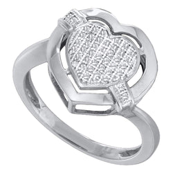 10kt Two-tone White Gold Womens Round Diamond Heart Cluster Ring 1/8 Cttw