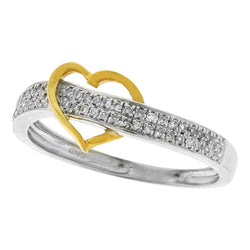 10kt Two-tone Gold Womens Round Diamond Heart Love Ring 1/6 Cttw