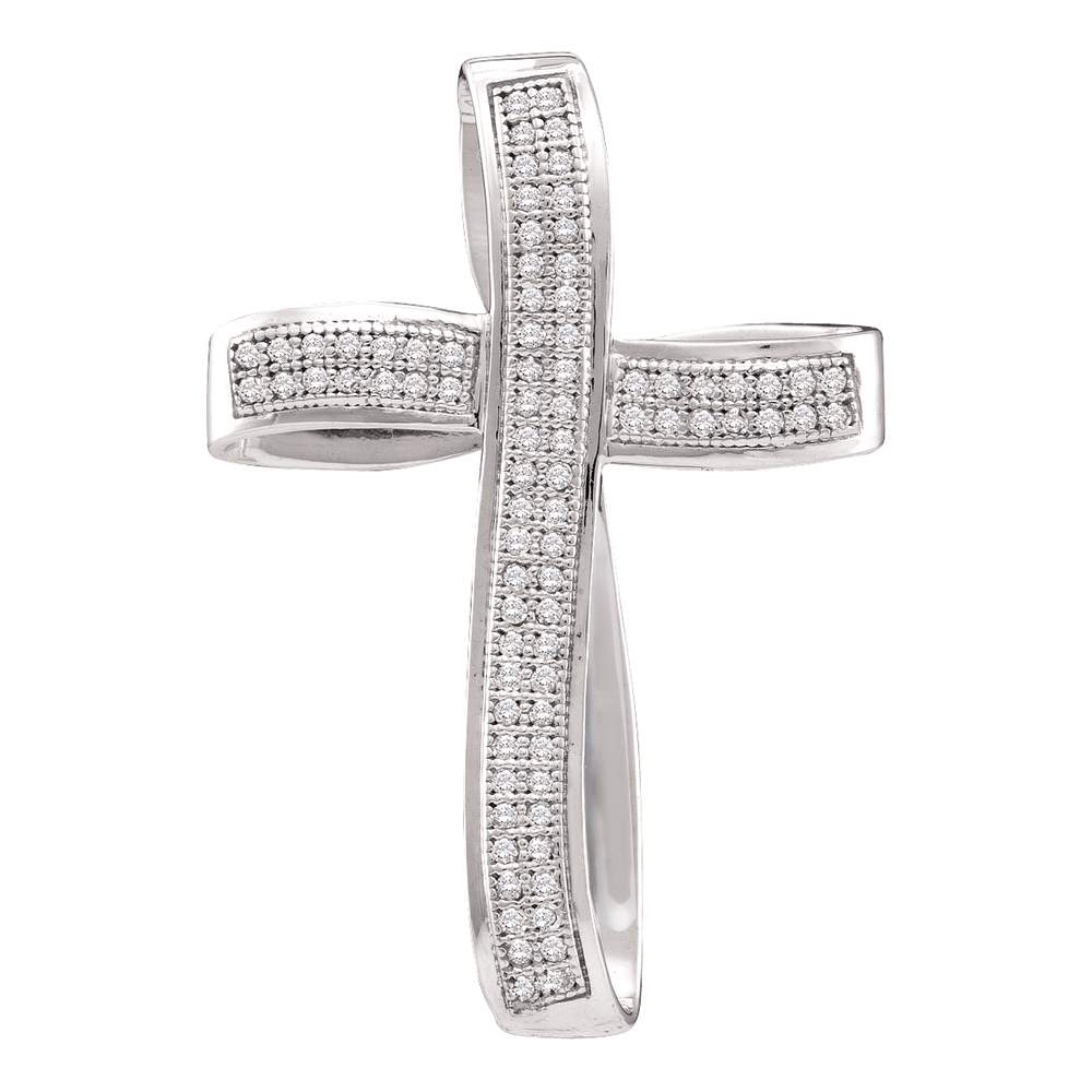 10K White Gold Real Diamond Religious Cross Christ Faith Charm Pendant 1/4 CT