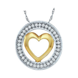 10kt Two-tone White Gold Womens Round Diamond Encircled Heart Pendant 1/10 Cttw