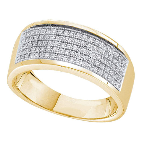 10k Yellow Gold Mens Round Diamond Micropave Wedding Anniversary Band Ring 1/3 Cttw