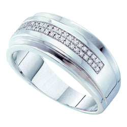 10kt White Gold Mens Round Pave-set Diamond Double Row Wedding Band Ring 1/6 Cttw