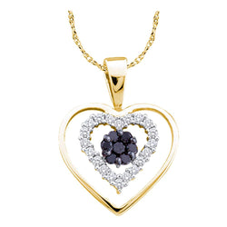 14kt Yellow Gold Womens Round Black Colored Diamond Double Heart Frame Cluster Pendant 1/4 Cttw