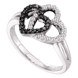 14kt White Gold Womens Round Black Colored Diamond Double Heart Ring 1/4 Cttw