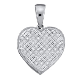10kt White Gold Womens Round Diamond Simple Heart Love Cluster Pendant 1/20 Cttw