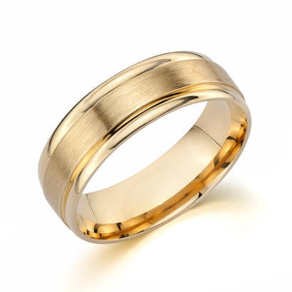 14K Yellow Gold Engraved Gents Band