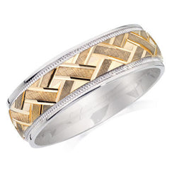 10K Gold and Silver Engraved Gents Band