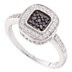 14kt White Gold Womens Round Black Colored Diamond Square Cluster Ring 1/4 Cttw