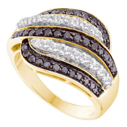 14kt Yellow Gold Womens Round Black Colored Diamond Stripe Cocktail Band 1.00 Cttw
