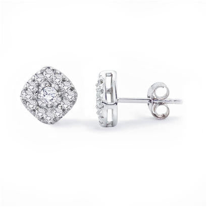14K White Gold .38CT TWT Diamond Fashion Earrings