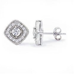 14K White Gold .56CT TWT Diamond Fashion Earrings