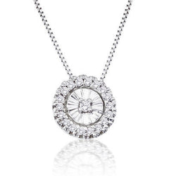 14K White Gold .10CT Diamond Fashion Pendant/Necklace