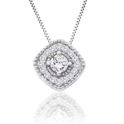 14K White Gold .27CT Diamond Fashion Pendant/Necklace