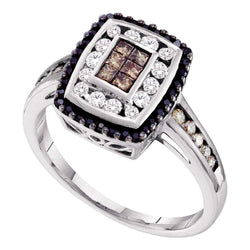 14kt White Gold Womens Princess Cognac-brown Black Colored Diamond Rectangle Cluster Ring 1/2 Cttw
