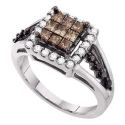 14kt White Gold Womens Princess Cognac-brown Colored Diamond Cocktail Ring 1.00 Cttw