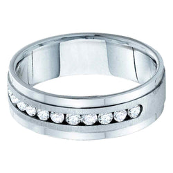 14kt White Gold Mens Round Diamond Band Wedding Anniversary Ring 1.00 Cttw