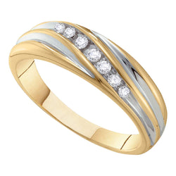 10kt Two-tone Gold Mens Round Diamond Band Wedding Anniversary Ring 1/6 Cttw
