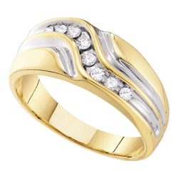 10kt Yellow Gold Mens Round Diamond Band Wedding Anniversary Ring 1/4 Cttw