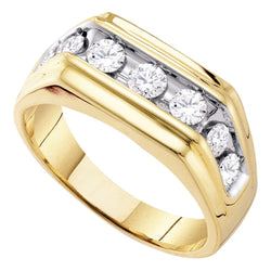 10kt Yellow Gold Mens Round Diamond Squared Edges Single Row Band Ring 1.00 Cttw