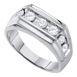 10kt White Gold Mens Round Diamond Squared Edges Single Row Band Ring 1.00 Cttw