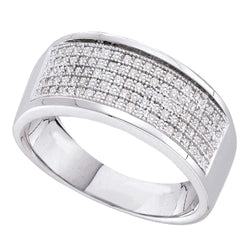 Sterling Silver Womens Round Diamond Five Row Wedding Band 1/3 Cttw
