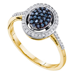 10kt Yellow Gold Womens Round Blue Colored Diamond Oval Cluster Ring 1/4 Cttw