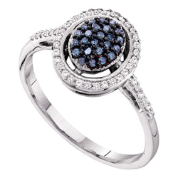 10kt White Gold Womens Round Blue Colored Diamond Oval Frame Cluster Ring 1/4 Cttw