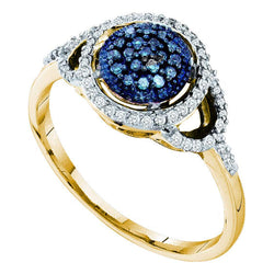 10kt Yellow Gold Womens Round Blue Colored Diamond Framed Cluster Ring 1/4 Cttw
