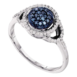 10kt White Gold Womens Round Blue Colored Diamond Framed Cluster Ring 1/4 Cttw