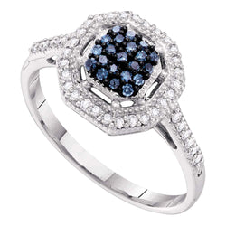 10kt White Gold Womens Round Blue Colored Diamond Octagon Cluster Ring 1/4 Cttw