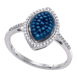10kt White Gold Womens Round Blue Colored Diamond Oval Cluster Ring 1/4 Cttw